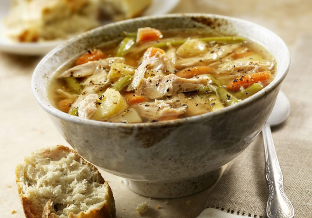 Homemade Turkey Soup with Carrots, Potatoes and Green Beans - Photographed on Hasselblad H3D2-39mb Camera