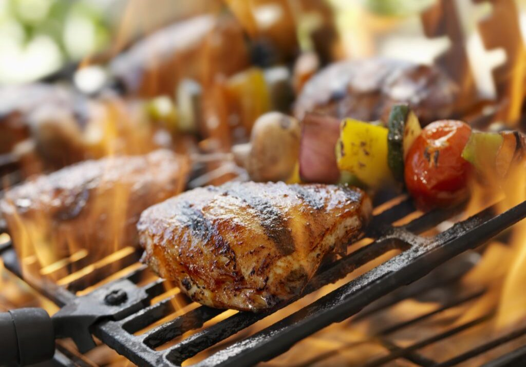 Chicken Thighs and Vegetable Kabobs on a Outdoor BBQ -Photographed on Hasselblad H3D2-39mb Camera